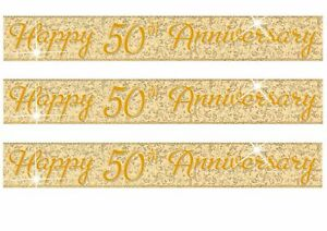 Golden Wedding Anniversary Banner Party Decoration 50th Anniversary Bunting