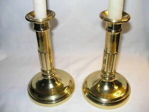 """Vintage Pair of Solid Brass """"Column Style"""" Candlesticks 7""""H X 4 3/4""""W"""