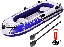EPROSMIN 4 Person Inflatable Boat Canoe - 9FT Raft Inflatable Kayak with Air Pum