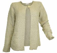Strickjacke CHEER Gr 38 bis 48 beige Winter warme Grobstrick Jacke NEU