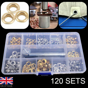 120x Grommets Durable Clothing Metal Eyelets Button Set Installation Tool Kit