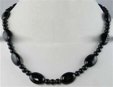 """Black Agate 13x18mm Onyx Oval +6mm Round Beads Necklace 18"""" JN336"""