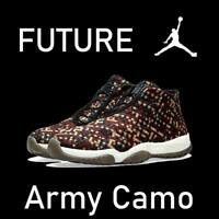 "NIKE AIR JORDAN FUTURE PREMIUM DARK ARMY ""CAMO"" BLACK SAIL WOVEN 652141-301 12"