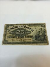 1900 DOMINION OF CANADA 25 Cent Bank Note - Collectible Paper Money Currency