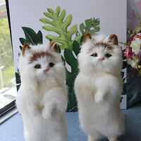 Realistic Lifelike Cat Animals Model Plush Toy Stuffed Fluffy Doll Kid Xmas Gift