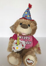 Chantilly Lane CupCake Birthday Bear Plua Sings Happy Birthday Light-Up Candle