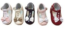 BABY GIRLS T BAR SPANISH BOW WALKING SHOES VARIOUS COLOURS