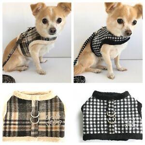 Dog Harness & Lead Set Coat Small Breeds Puppy Black Check Brown Tartan XS-L