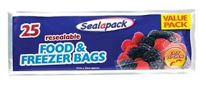 25x Reusable Food Freezer Bags Fruit Vegetable Meat Storage Zip Lock Airtight