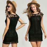 Women Summer Sleeveless Sexy Lace Casual Evening Party Cocktail Short Mini Dress