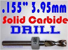 ".155"" 3.95mm  -Solid Carbide Drill Bit - 1/8"" Shank -Sharp! CNC Hobby Model -lu"