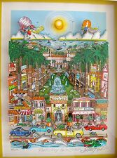 "CHARLES FAZZINO ""PERFECTLY PALM BEACH"" Framed Hand Signed 3-D Serigraph FLORIDA"