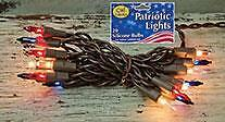 Patiotic Light String ~ Red Clear and Blue bulbs ~ Brown cord ~ 20 lights