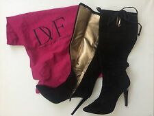 SALE Diane von Furstenberg Designer knee high black suede boots SIZE 6.5 UK