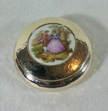 Vintage ancienne boite en dinanderie et porcelaine FRAGONARD LIMOGES Romantique