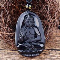 Chanceux Noir  Obsidienne Pendentif De Bouddha Collier  Sculpture