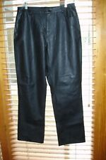 Vtg Black Faux Leather polyurethane 5 pocket Jeans/Pants Sz 14 *Broken Zipper*