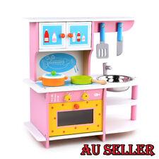 2018 Wooden Kitchen Play Set Kids Girls Pretend Cookware Chef Kitchens Toy