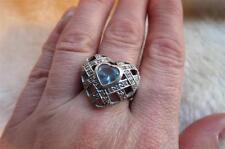Diamonique Cubic Zirconia  925 Sterling Silver Blue Facet Cut Heart Ring Size R