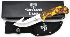 "Snake Eye Tactical Fixed Blade Skinner Knife w/ Gut Hook Blade 8.5"" Overall"