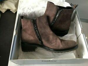Gabor Ankle Boots - Size 5 (Fango Anthracite/Taupe) - NEW