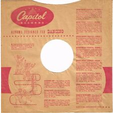 """1940s 10"""" inch """"Designed for Dancing"""" Capitol Records Record SLEEVE ONLY 78 RPM"""