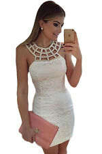 c6aa4dd370b Sexy Womens Bodycon White Lace Beaded Party Mini Dress Caged Sleeveless Size  8