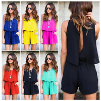 Women Ladies Clubwear Summer Playsuit Bodycon Party Jumpsuit Romper Trousers AU