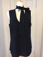 NWT Michael Kors Black Blouse W/ Pussy Bow Neck Tie Size 16W