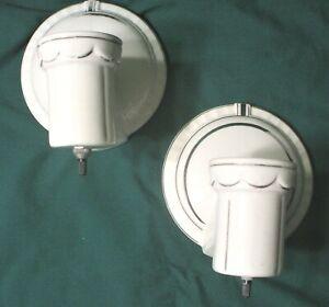 Pair (2) Vintage Ceramic Porcelain Lamp Light Fixtures Wall Sconce Art Deco