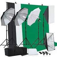 Photo Studio Photography Lighting Kit Umbrella Softbox Muslin Backdrop Stand Kit