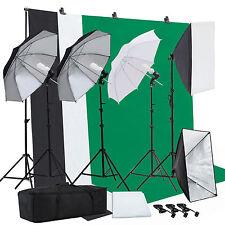 Photo Studio Photography Lighting Kit Muslin Backdrop Stand Set Umbrella Softbox