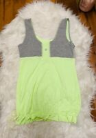 Lululemon Womens Tank top Scoop Neck green striped gray  Size M sleeveless shirt