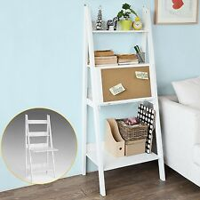 White Display Ladder Bookcase 3 Shelves Folding Work Desk Memo Board Living Room