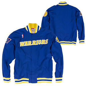 Mitchell & Ness Authentic GOLDEN STATE WARRIORS VINTAGE WARM UP JACKET IN BLUE