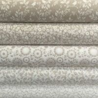 Fabric Freedom Silhouette Floral 100% Cotton Fabric FQ Craft Quilt Patch Beige