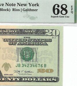2009 $20 NEW YORK FRN, PMG SUPERB GEM UNCIRCULATED 68 EPQ BANKNOTE