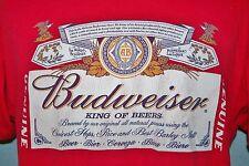 BUDWEISER King Of Beers Bottle Label Red Mens T-SHIRT Medium Anheuser Busch