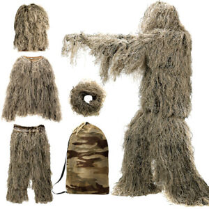 5 in 1 Ghillie Suit Camo Woodland Camouflage Forest Desert Hunting w/ Carry Bag