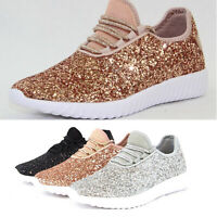 Women Sequin Glitter Sneakers Lace Up Lightweight Walking Athletic Casual Shoes