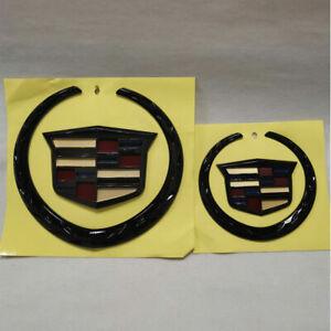 Cadillac Set of 2 Black Color Grille+Rear Emblem Badge Ornament Symbol Escalade