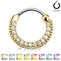 "Round Paved Gems Plated 316L Surgical Steel Septum Clicker 16G 14G 3/8"" Diameter"
