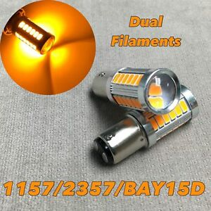 Front Turn Signal 1157 2057 3496 7528 33 SMD BAY15D Amber LED Bulb W1 For Ford A