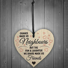 1Pcs Red Ocean Chance Made Us Neighbours Novelty Wooden Hanging Heart Plaque