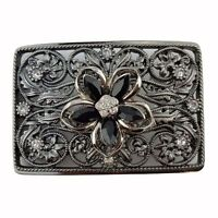 Rectangular Flower Rhinestone Belt Buckle