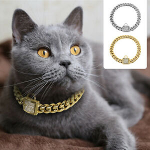 Luxury Cat Gold Chain Collar Elegant Rhinestone Buckle Xmas Dog Puppy Necklace