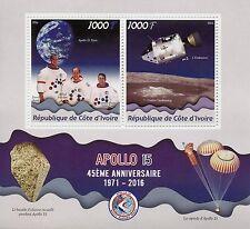 Ivory Coast 2016 MNH Apollo 45th Anniv Scott Irwin Worden 2v M/S Space Stamps
