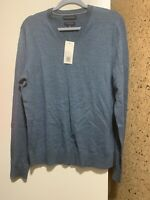 NWT Banana Republic Mens Washable Merino Wool V neck Sweater Aqua Blue Medium