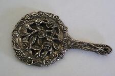 (ref165BQ) Small Ornate Silver Plated Hand Mirror