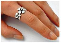 Triple Flower Hawaiian Plumeria Ring 925 Sterling Silver Size 6 -9